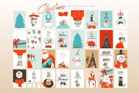 Hand drawn vector abstract fun Merry Christmas time cartoon illustrations greeting cards template and backgrounds big collection set with gift boxes,people and Xmas tree isolated on white background. Illusztráció