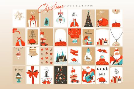 Divertimento astratto di vettore disegnato a mano buon Natale tempo fumetto illustrazioni biglietti d'auguri modello e sfondi grande collezione insieme con scatole regalo, persone e albero di Natale isolato su priorità bassa bianca.