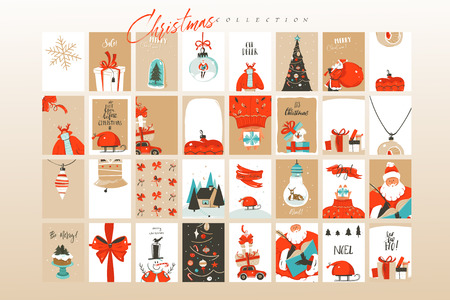 Hand drawn vector abstract fun Merry Christmas time cartoon illustrations greeting cards template and backgrounds big collection set with gift boxes,people and Xmas tree isolated on white background. Ilustracja