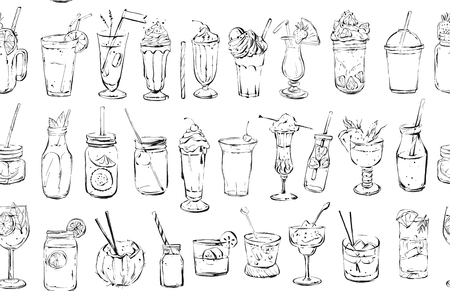 Hand drawn vector abstract ink graphic brush textured sketch drawing seamless pattern with big collection of cocktails and dessert drinks isolated on white background.