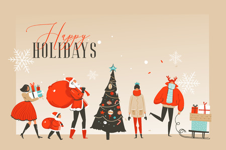 Hand drawn vector abstract fun Merry Christmas time cartoon illustrations greeting card or landing page with happy xmas market people and copy space place for your text isolated on craft background. Ilustrace