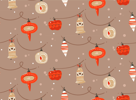 Hand drawn vector abstract fun Merry Christmas and Happy New Year time cartoon rustic festive seamless pattern with cute illustrations of Xmas tree toys bulb garland isolated on pastel background. Stock Photo