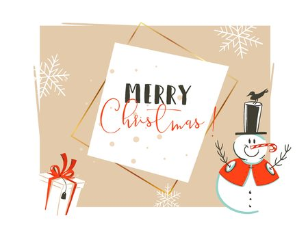 Hand drawn vector abstract Merry Christmas and Happy New Year time vintage cartoon illustrations greeting card header template with snowman and gift box isolated on white background Stock Photo