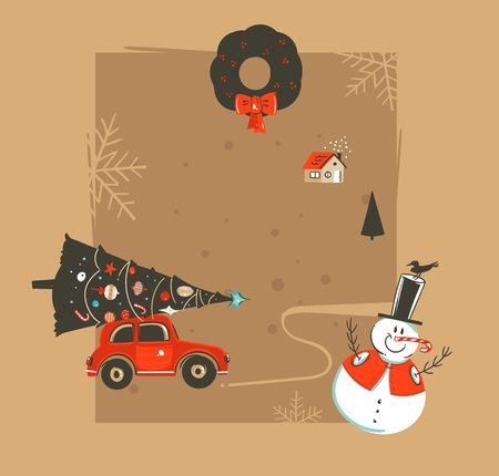Hand drawn vector abstract Merry Christmas and Happy New Year time vintage cartoon illustrations greeting card template with car,xmas tree,snowman and place for your text isolated on brown background