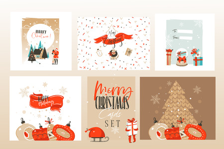 Hand drawn vector abstract fun Merry Christmas time cartoon illustrations greeting cards template and backgrounds big collection set with gift boxes,people and Xmas art isolated on white background.