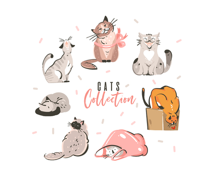 Hand drawn vector abstract cute simple funny domestic cats collection set isolated on white background.