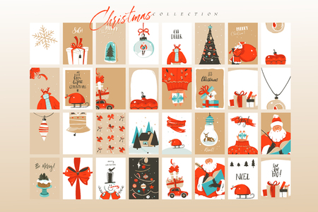 Hand drawn vector abstract fun Merry Christmas time cartoon illustrations greeting cards template and backgrounds big collection set with gift boxes,people and Xmas tree isolated on white background. 向量圖像