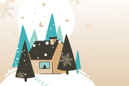 Hand drawn vector abstract fun Merry Christmas and Happy New Year time cartoon illustration greeting card with winter landscape and cozy home in forest isolated on craft background. Illustration