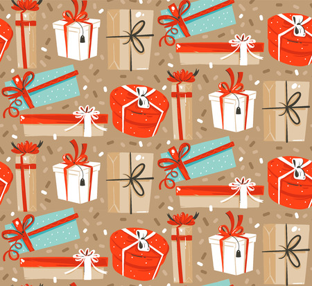 Hand drawn vector abstract fun Merry Christmas and Happy New Year time cartoon rustic festive seamless pattern with cute illustration of surprise gift boxes and confetti isolated on pastel background.