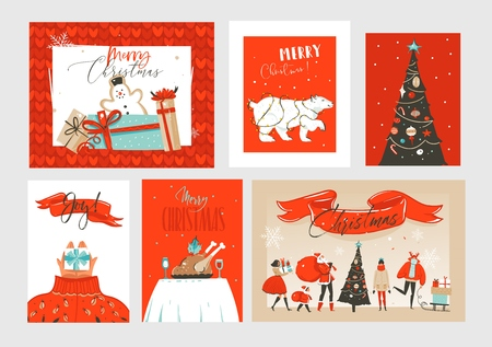 Hand drawn vector abstract fun Merry Christmas time cartoon illustrations greeting cards and backgrounds collection set with gift boxes,Christmas tree and calligraphy isolated on craft background.