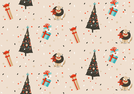 Hand drawn vector abstract fun Merry Christmas and Happy New Year time cartoon rustic festive seamless pattern with cute illustrations of Xmas tree and dogs isolated on pastel background. 向量圖像