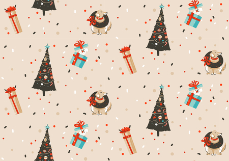 Hand drawn vector abstract fun Merry Christmas and Happy New Year time cartoon rustic festive seamless pattern with cute illustrations of Xmas tree and dogs isolated on pastel background Stockfoto
