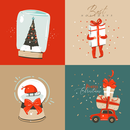 Hand drawn vector abstract fun Merry Christmas and Happy New Year time cartoon illustration greeting card with xmas surprise gift boxes,child and Merry Christmas text isolated on colored background Stockfoto