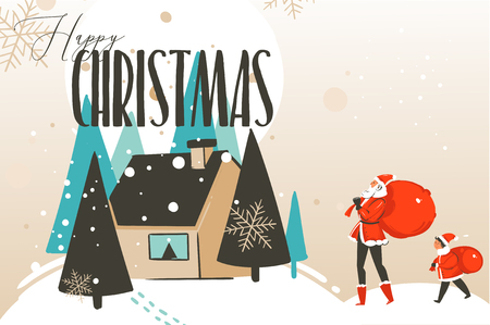 Hand drawn vector abstract fun Merry Christmas and Happy New Year time cartoon illustration greeting card with xmas family,house and Happy Christmas text isolated on craft background Stock Photo
