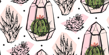 Hand drawn vector abstract seamless pattern with terrarium,polka dots texture and cacti plants in pastel colors isolated on white bakground.Design for decoration,fashion,fabric,wrapping,save the date. Stock Illustratie