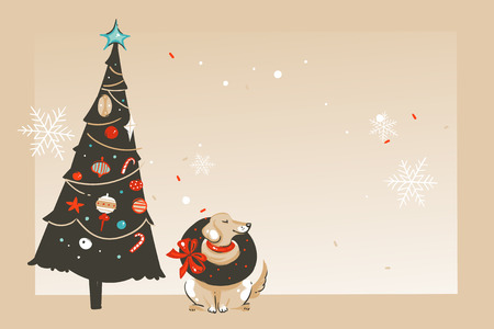 Hand drawn vector abstract fun Merry Christmas and Happy New Year time cartoon illustration greeting card with happy xmas dog,tree and copy space place for your text isolated on craft background.