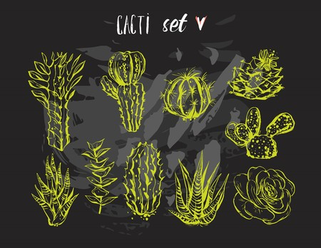 Hand drawn vector graphic creative succulent,cactus and plants collection set isolated on black background.Unique unusual hipster trendy design.Hand made graphic illustration.Vintage wedding