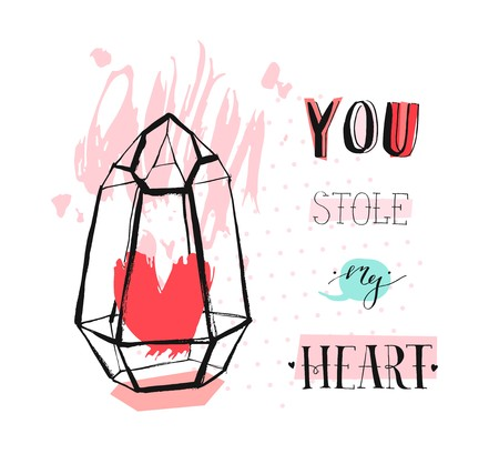Hand drawn vector abstract graphic Love concept greeting card design with rough heartt in glass terrarium and modern calligraphy phase You stole my heart in pastel color isolated on white background