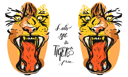 Hand drawn vector abstract graphic sketch ink drawing of tigers faces in orange colors isolated on black background with handwritten calligraphy quote Lets set the tigers free Illustration