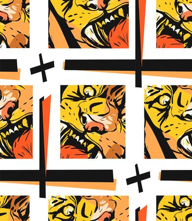 Hand drawn vector abstract graphic drawing seamless pattern of anger tiger face in orange colors isolated on white background.Hand made exotic sketch collage illustration.Wild soul concept
