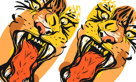 Hand drawn vector abstract graphic freehand textured sketch ink drawing of tigers faces in orange colors collage isolated on white background Illustration
