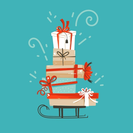 Hand drawn vector abstract fun Merry Christmas and Happy New Year time cartoon illustration greeting card with xmas surprise gift boxes isolated on blue background.