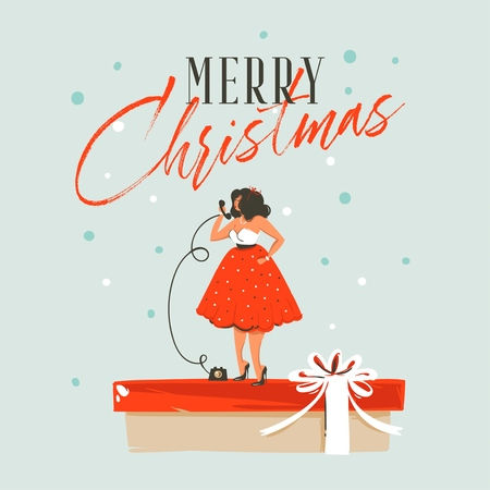Hand drawn vector abstract fun Merry Christmas and Happy New Year time cartoon illustration greeting card with xmas calling girl in dress and Merry Christmas text isolated on blue background.