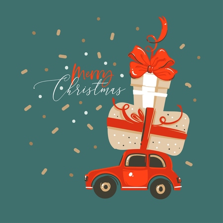 Hand drawn vector abstract fun Merry Christmas and Happy New Year time cartoon illustration greeting card with xmas surprise gift boxes and car isolated on green background