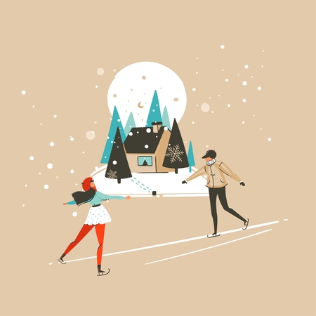 Hand drawn vector abstract fun Merry Christmas and Happy New Year time cartoon illustration greeting card with xmas ice skete boy and girl isolated on craft background.