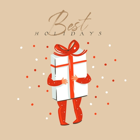 Hand drawn vector abstract fun Merry Christmas and Happy New Year time cartoon illustration greeting card with xmas child with surprise gift box and Best holidays text isolated on craft background.