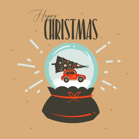 Hand drawn vector abstract fun Merry Christmas and Happy New Year time cartoon illustration greeting card with xmas snow glass globe and car isolated on craft background