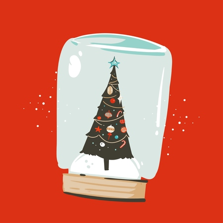 Hand drawn vector abstract fun Merry Christmas and Happy New Year time cartoon illustration greeting card with xmas tree in snow glass sphere isolated on red background