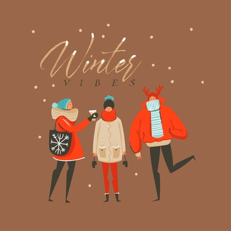 Hand drawn vector abstract fun Merry Christmas and Happy New Year time cartoon illustration greeting card with friends characters and Winter vibes text isolated on brown background.