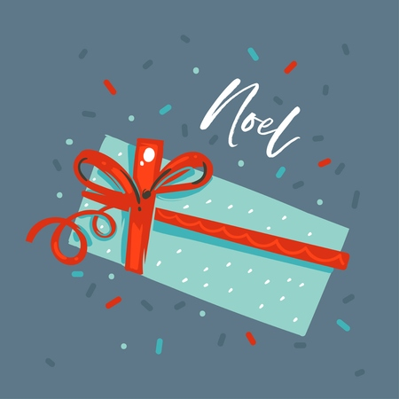 Hand drawn vector abstract fun Merry Christmas and Happy New Year time cartoon illustration greeting card with xmas surprise gift box and Noel text isolated on blue background.