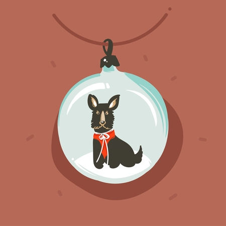 Hand drawn vector abstract fun Merry Christmas and Happy New Year time cartoon illustration greeting card with funny dog character in snow globe bauble isolated on brown background.
