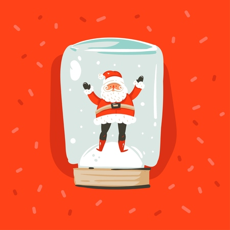 Hand drawn vector abstract fun Merry Christmas and Happy New Year time cartoon illustration greeting card with Santa Claus character in snow globe sphere isolated on red background.
