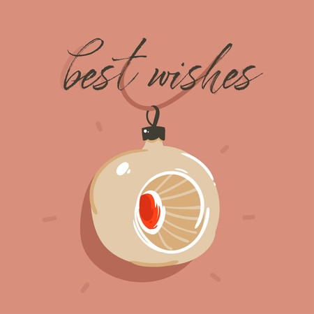 Hand drawn vector abstract fun Merry Christmas and Happy New Year time cartoon illustration greeting card with fir tree bauble toy and Best Wishes text isolated on brown background.