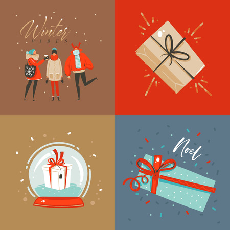 Hand drawn vector abstract fun Merry Christmas and Happy New Year time cartoon illustration greeting card with xmas surprise gift boxes,people and Merry Christmas text isolated on colored background 스톡 콘텐츠