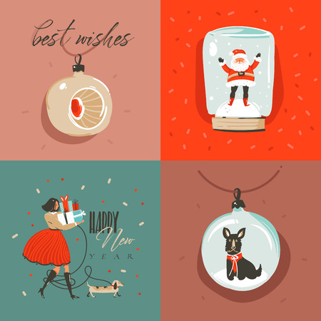 Hand drawn vector abstract Merry Christmas and Happy New Year time cartoon illustration greeting card with Santa Claus,xmas tree toys,people and Merry Christmas text isolated on colored background