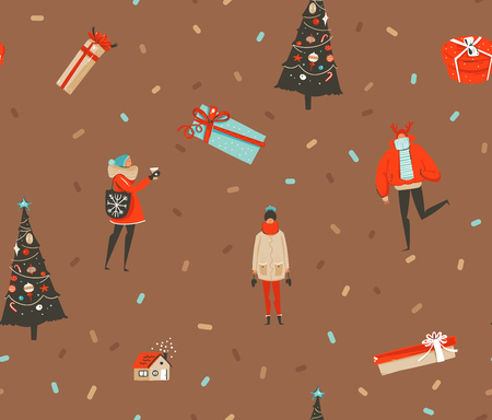 Hand drawn vector abstract fun Merry Christmas and Happy New Year time cartoon rustic festive seamless pattern with cute illustrations of Xmas people and gift boxes isolated on brown background