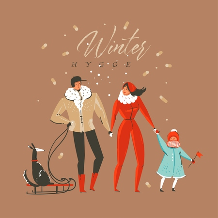 Hand drawn vector abstract fun Merry Christmas and Happy New Year time cartoon illustration greeting card with family characters and Winter hygge text isolated on brown background. Stock Illustratie