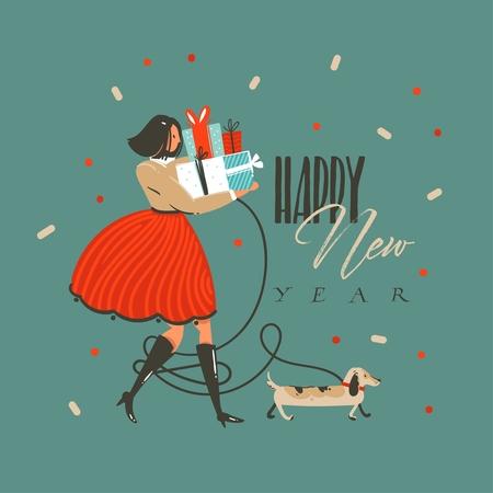 Diversión abstracta de vector dibujado a mano feliz Navidad y feliz año nuevo tiempo tarjeta de felicitación de ilustración de dibujos animados con perro gracioso, niña con regalos y texto de feliz año nuevo aislado sobre fondo verde.