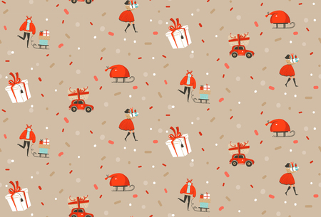 Hand drawn vector abstract fun Merry Christmas and Happy New Year time cartoon rustic festive seamless pattern with cute illustrations of Xmas people and gift boxes isolated on pastel background.
