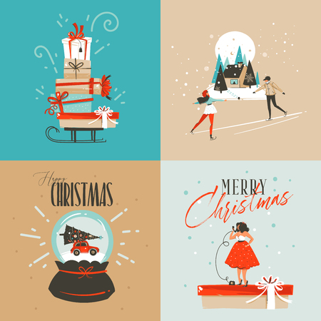 Hand drawn vector abstract fun Merry Christmas and Happy New Year time cartoon illustration greeting card with xmas surprise gift boxes,girl and Merry Christmas text isolated on colored background