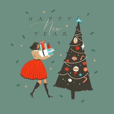 Hand drawn vector abstract fun Merry Christmas and Happy New Year time cartoon illustration greeting card with xmas decorated tree and girl with presents isolated on green background