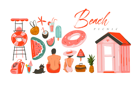 Hand drawn vector abstract Summer time illustrations collection set with boy and girl characters sitting on the beach shore,swimming buoy rubber rings and picnic objects isolated on white backhrouns 스톡 콘텐츠