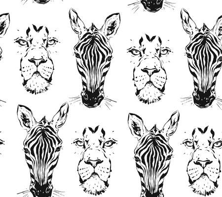 Hand drawn vector abstract artistic ink textured graphic sketch drawing illustrations seamless pattern of wildlife african safari zebra and lion head isolated on white background 일러스트