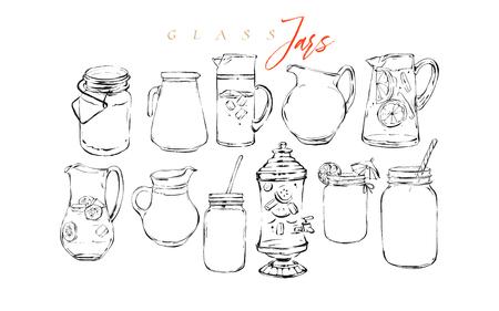 Gráfico de vector dibujado a mano con textura artística barra menú tinta colección conjunto boceto ilustraciones dibujo paquete de bebidas de cócteles de limonada natural orgánica en vidrio aislado sobre fondo blanco.