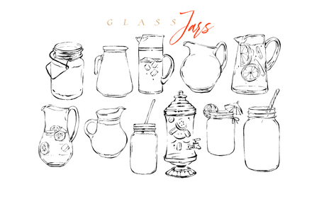 Hand drawn vector graphic textured artistic bar menu ink collection set sketch illustrations drawing bundle of organic natural lemonade cocktails drinks in glass isolated on white background