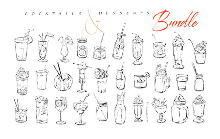 Hand drawn vector graphic textured artistic bar menu ink collection set sketch illustrations drawing bundle of alcohol and sweet desserts cocktails drinks in glass isolated on white background Stock Photo